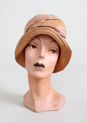 Vintage 1920s Summer Pink Straw Cloche Hat