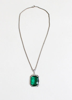 Vintage 1930s Art Deco Enameled Emerald Necklace