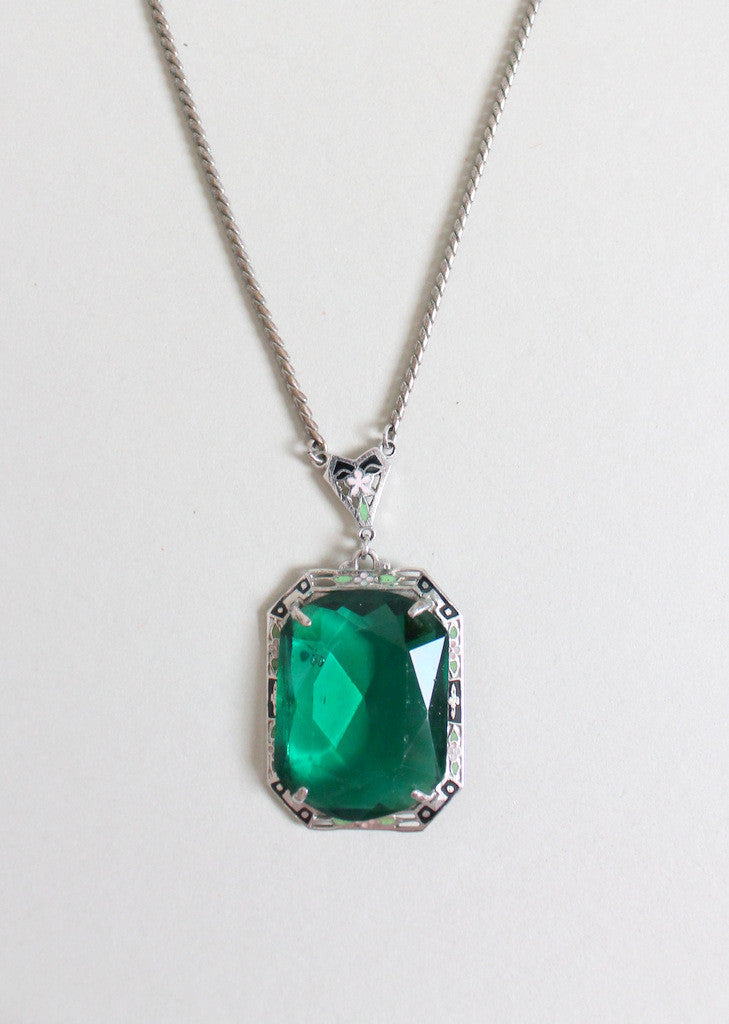Vintage 1930s Art Deco Enameled Emerald Necklace Raleigh
