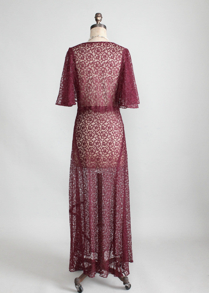 Vintage 1930s Cranberry Lace Evening Dress