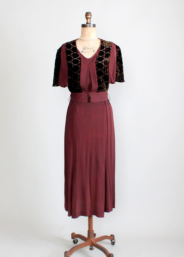 Vintage 1930s Crepe and Velvet Dress