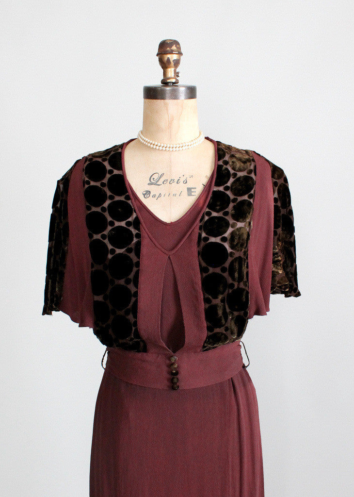 Vintage 1930s Brown Crepe Swing Dress