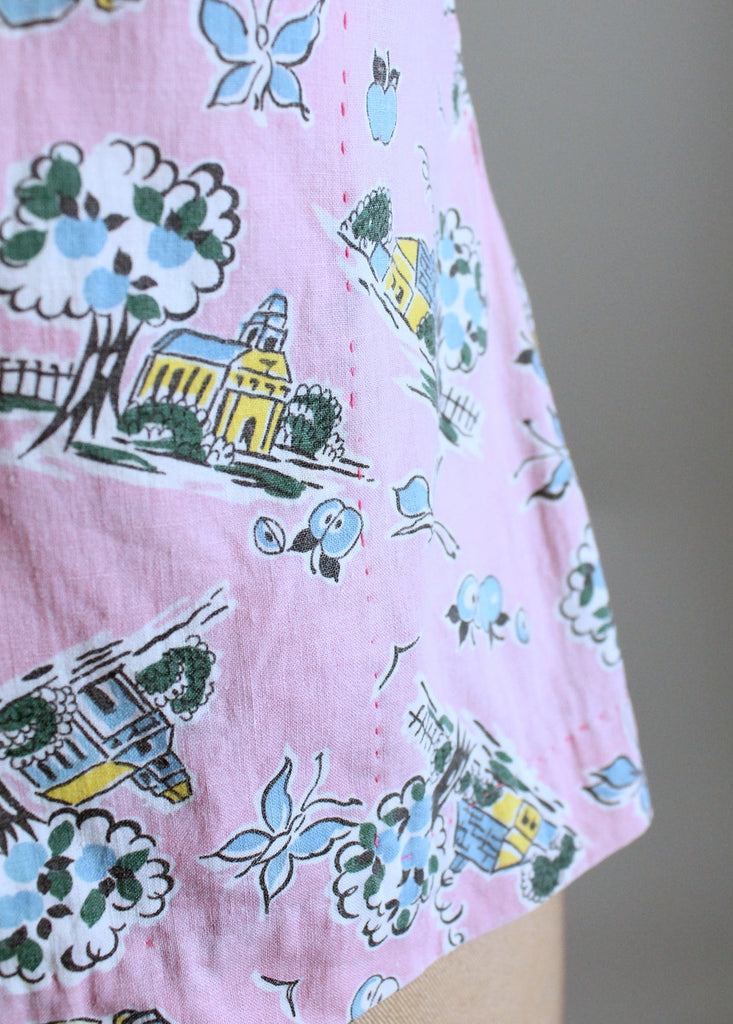 Vintage 1940s Pink Novelty Print Cotton Blouse