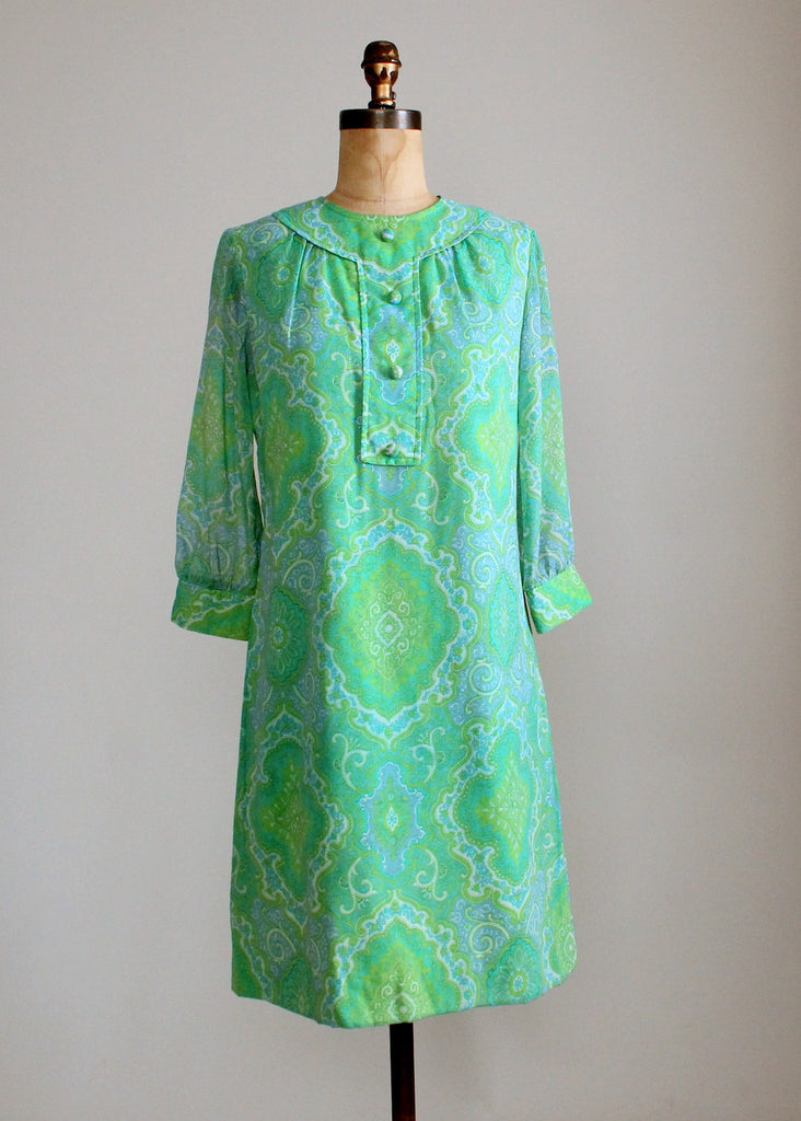 Vintage Late 1960s Stacey Ames MOD Green Paisley Dress