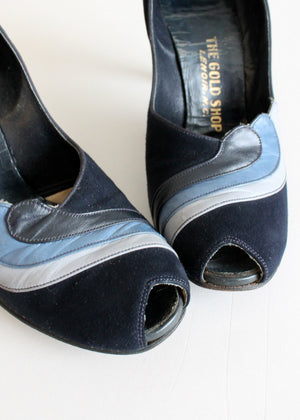 Vintage Late 1940s Blue Swirl Dance Shoes Size 7.5N