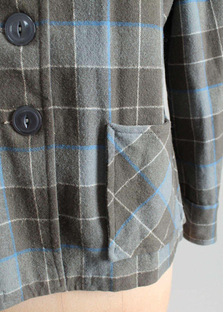 Vintage 1940s Plaid Wool 49er Jacket