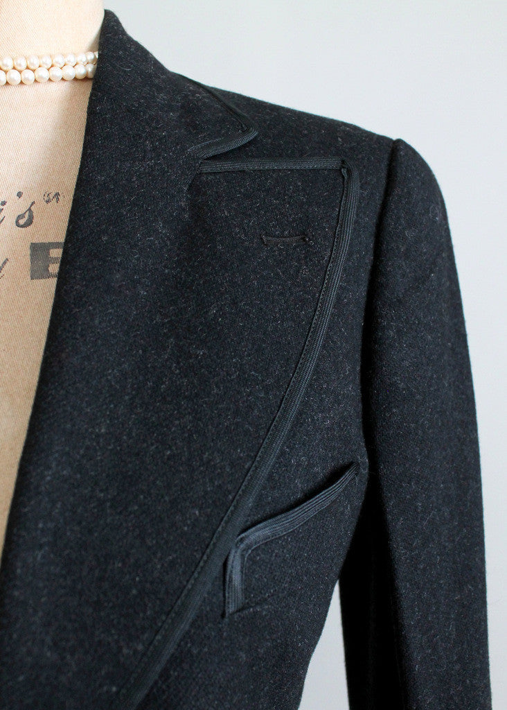 Vintage 1930s Black Tailored Wool Suit