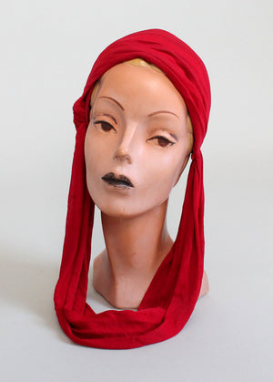 Vintage 1930s Art Deco Red Drape Hat