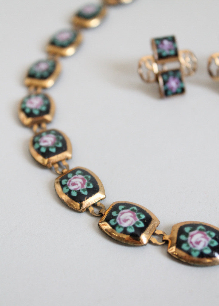 Vintage 1950s Painted Roses Brass Necklace and Earrings