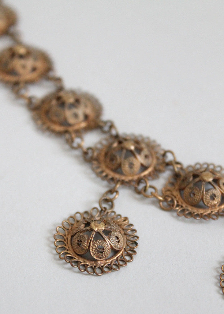 Antique Brass Filigree Necklace