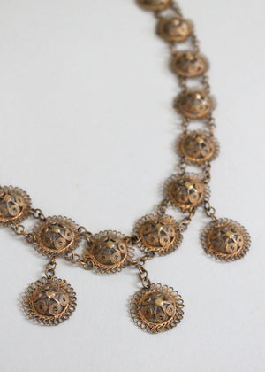 Vintage Brass Filigree Statement Necklace