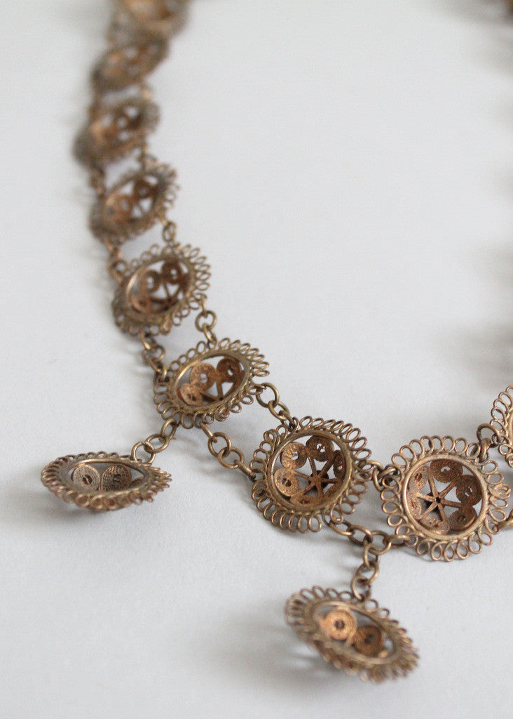 Antique Victorian Filigree Brass Necklace
