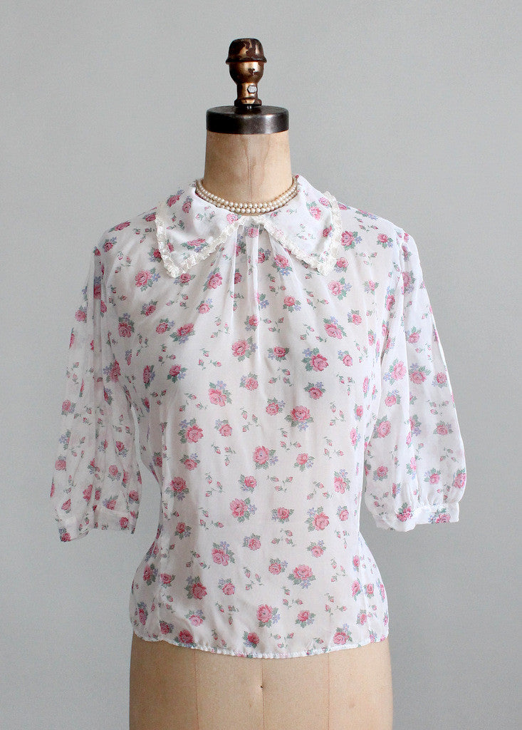 Vintage 1950s Sheer Floral Sweetheart Blouse