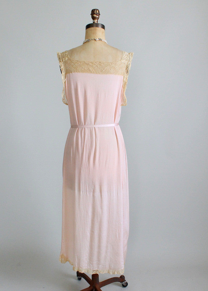Vintage 1920s Lace and Silk Gown