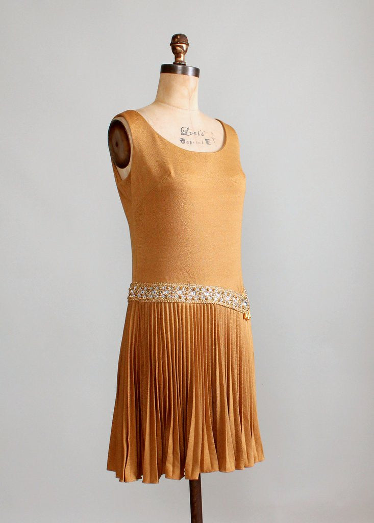 Vintage 1960s Shimmery Bronze MOD Party Dress
