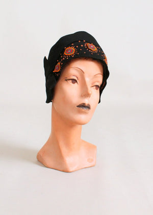 Vintage Late 1920s Embroidered Circles Cloche Hat