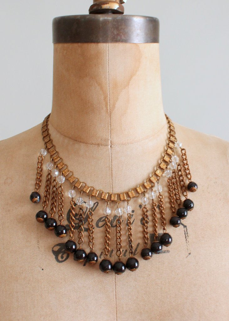 Vintage 1940s Brass Bookchain Bib Necklace