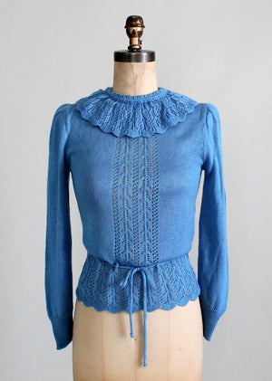 Vintage 1970s Blue Bell Ruffle Sweater