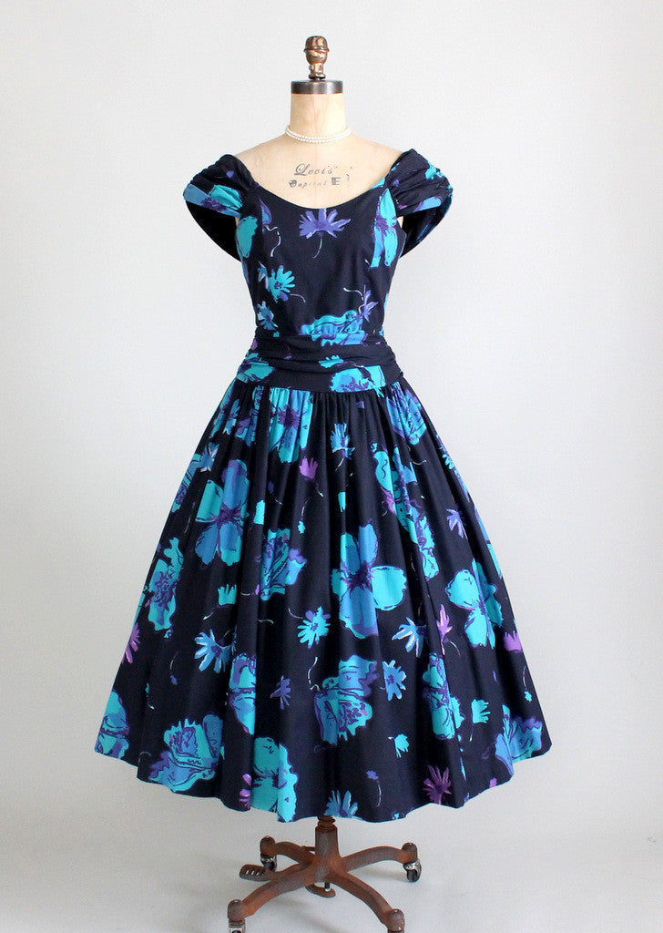 Vintage Laura Ashley Floral 1950s Style Dress