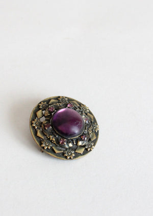 Vintage 1930s Brass and Plum Roundel Brooch