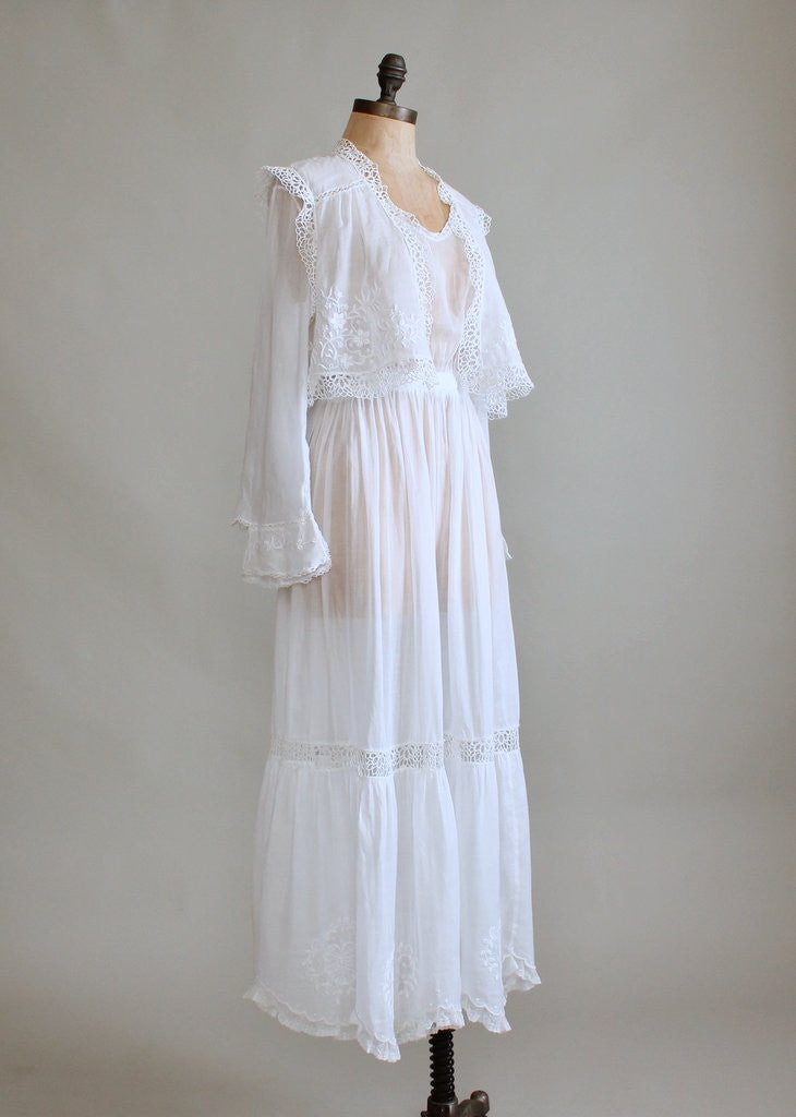 Edwardian White Organdy Lawn Dress With Embroidered Vest