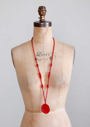 Vintage 1920s Ruby Red Glass Long Sautoir Flapper Necklace