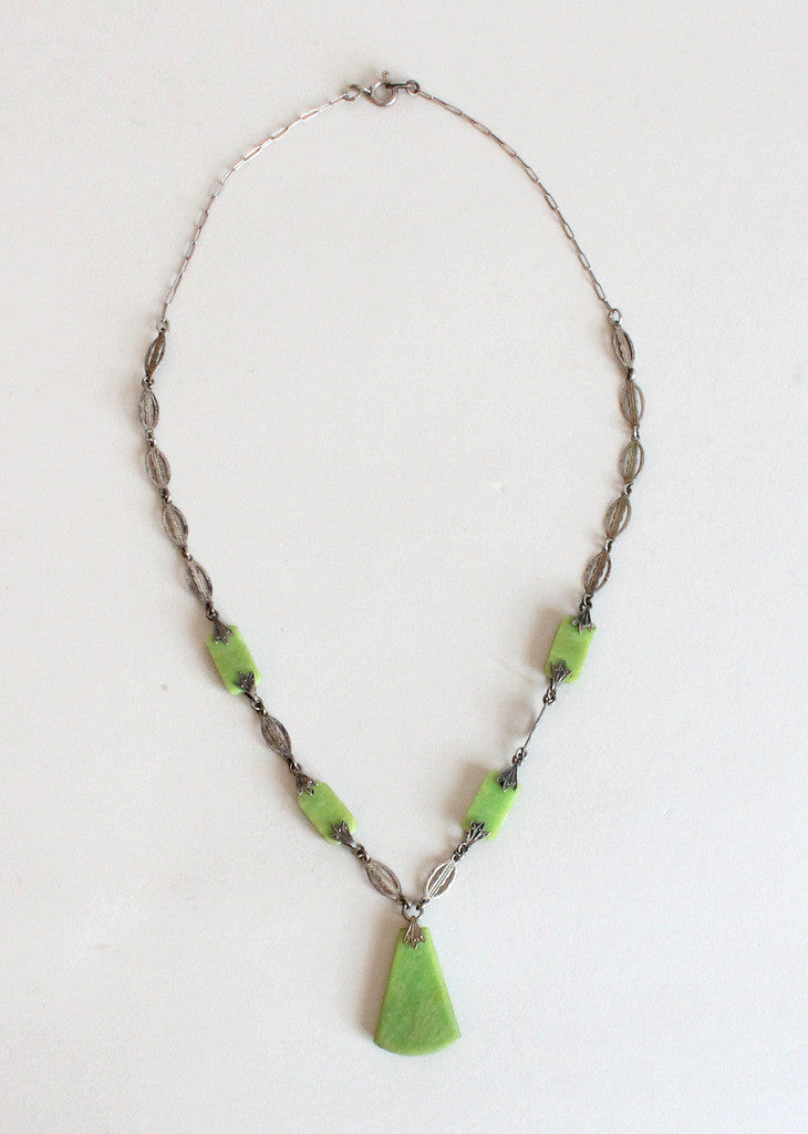 Vintage 1920s Green Czech Glass Flapper Necklace