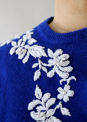Vintage 1960s Blue and White Beaded Cardigan