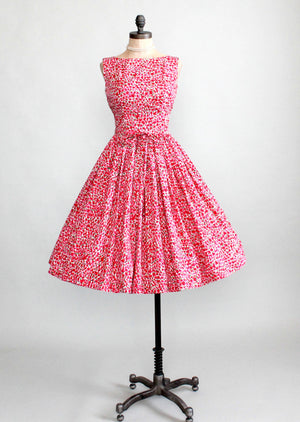Vintage 1950s Peak Bloom Floral Day Dress