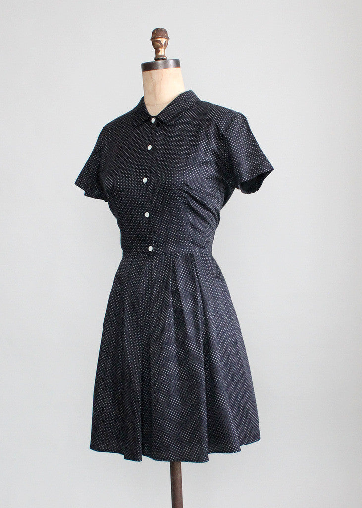 Vintage Black and White Polka Dot Shirtwaist Dress
