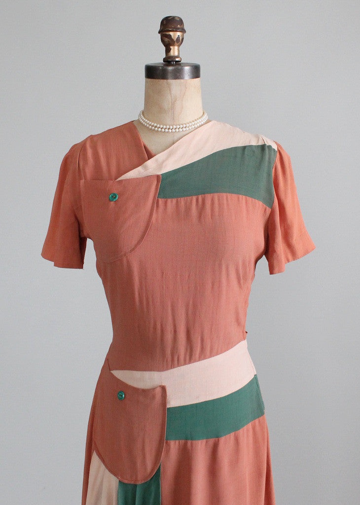 Vintage 1940s Color Block Swag Dress