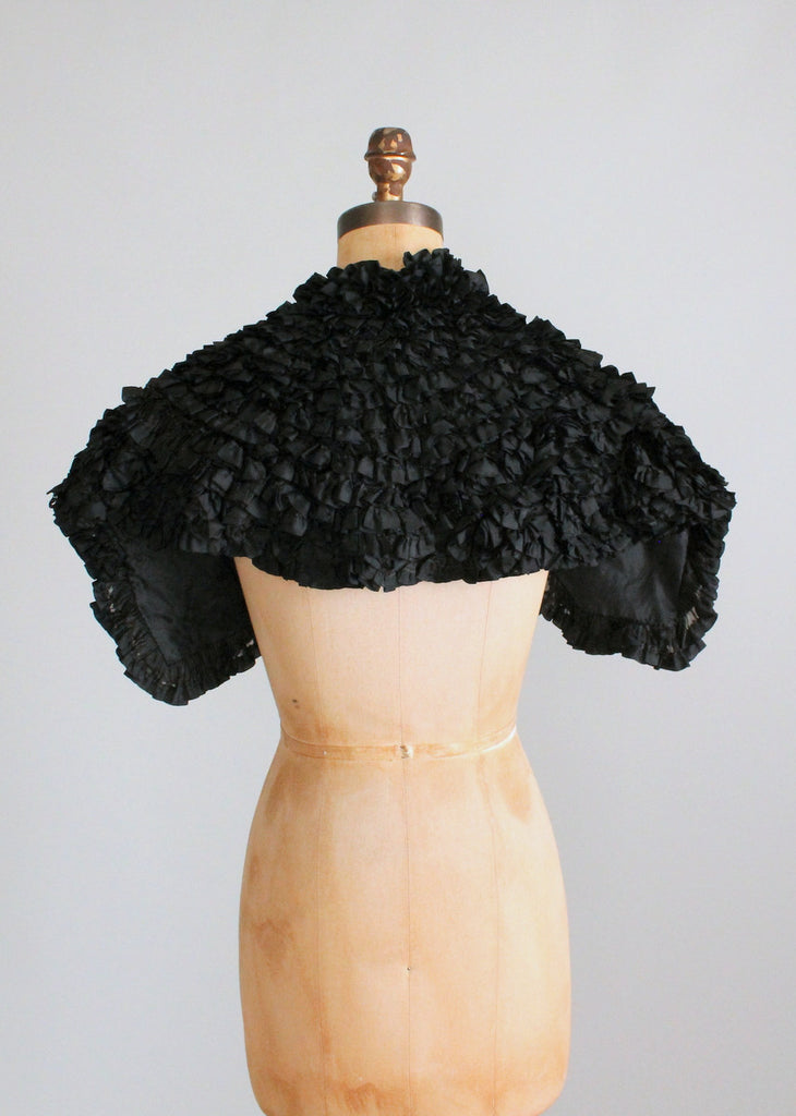 Antique Victorian Black Silk Ruffle Capelet
