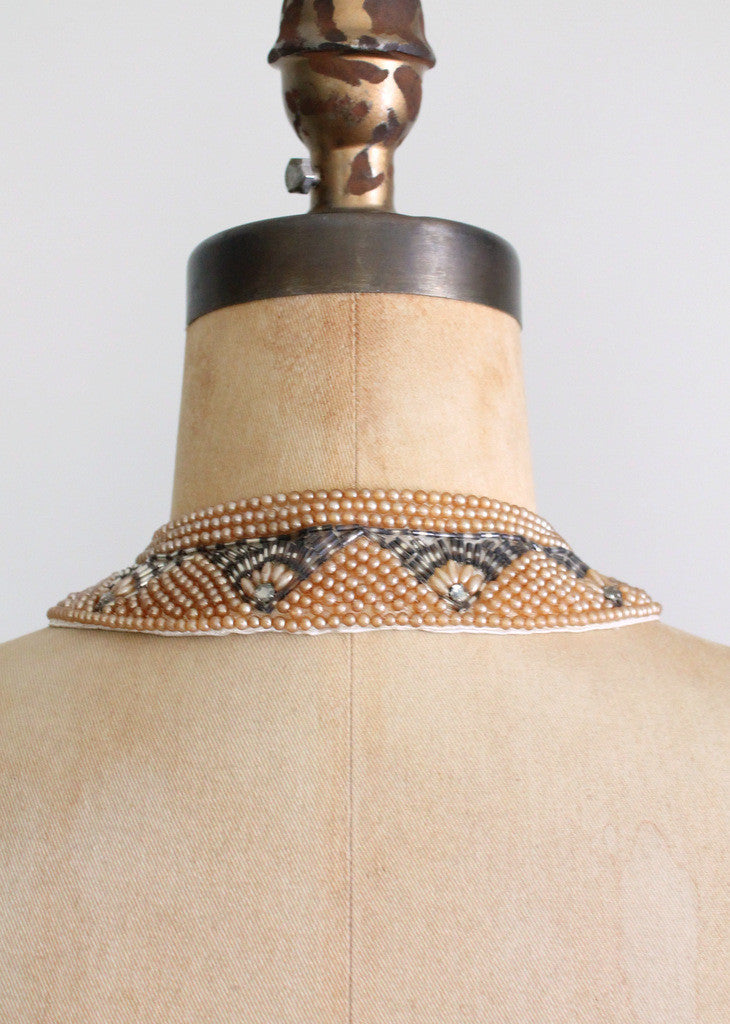 Vintage 1960s beaded sweater collar