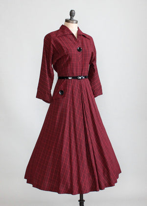 Vintage Late 1940s Kay Windsor Plaid Day Dress