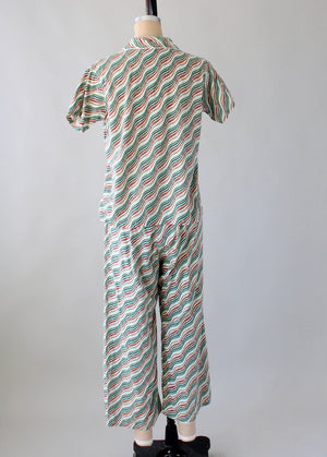 Vintage Late 1940s Waves and Stripes Cotton Pajama Set