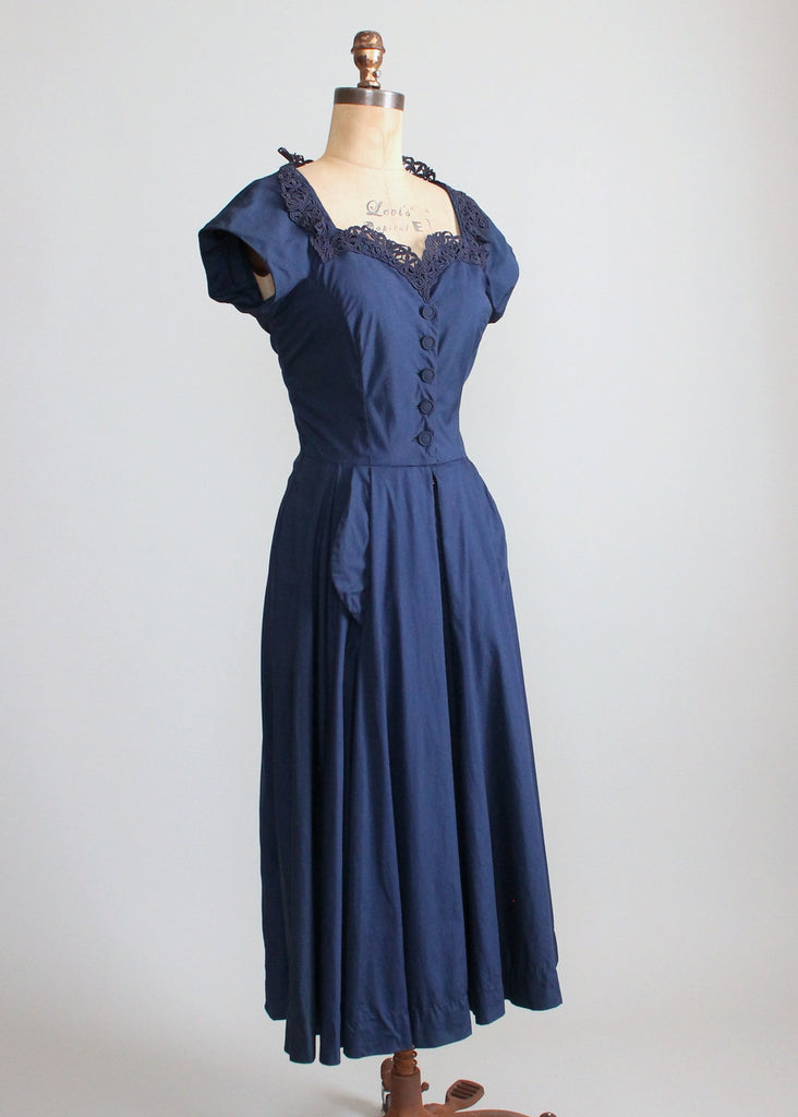 Vintage Late 1940s Navy Day Dress with a Stand Up Collar