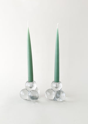 Vintage MCM Glass Ball Candle Holders