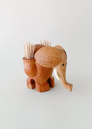Vintage MCM Wooden Elephant Toothpick Holder