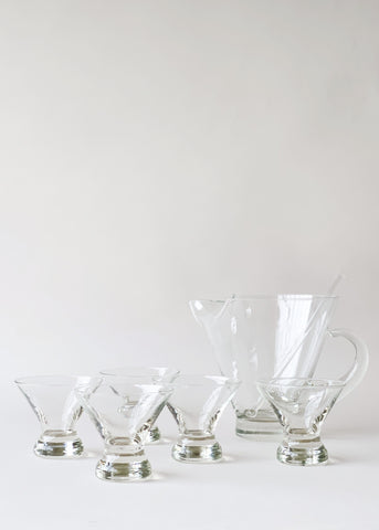 Mid-Century Glass Cocktail Set with Pitcher