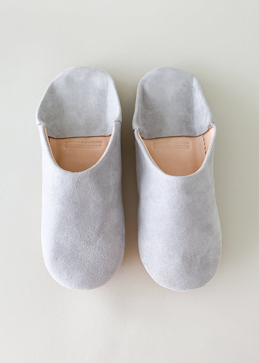 Moroccan Babouche Suede Slippers - Grey
