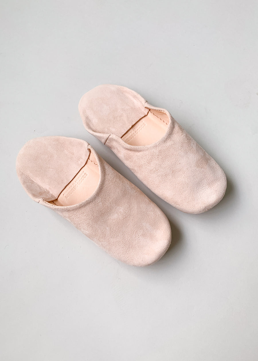 Moroccan Babouche Suede Slippers - Pink