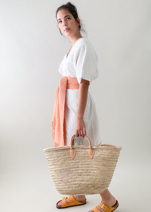 Moroccan Palm Leaf and Leather Tote