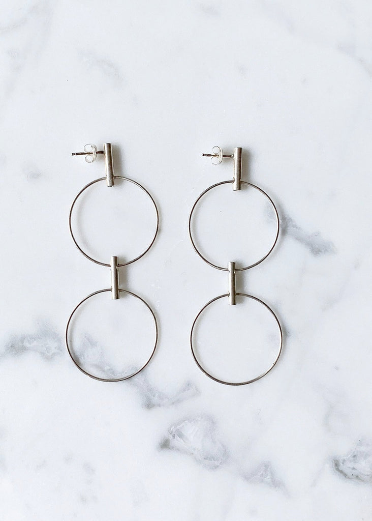 S. Tector Metals Double Pendulum Sterling Earrings