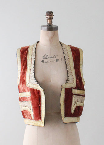 Vintage Turkish Embroidered Velvet Vest