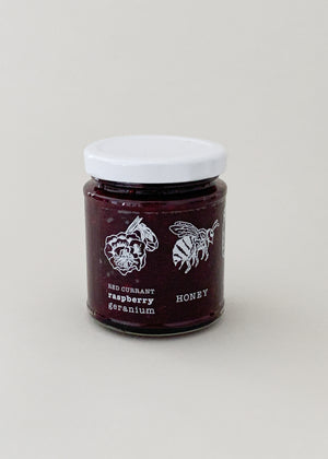 Raspberry Redcurrant Geranium Honey Jam