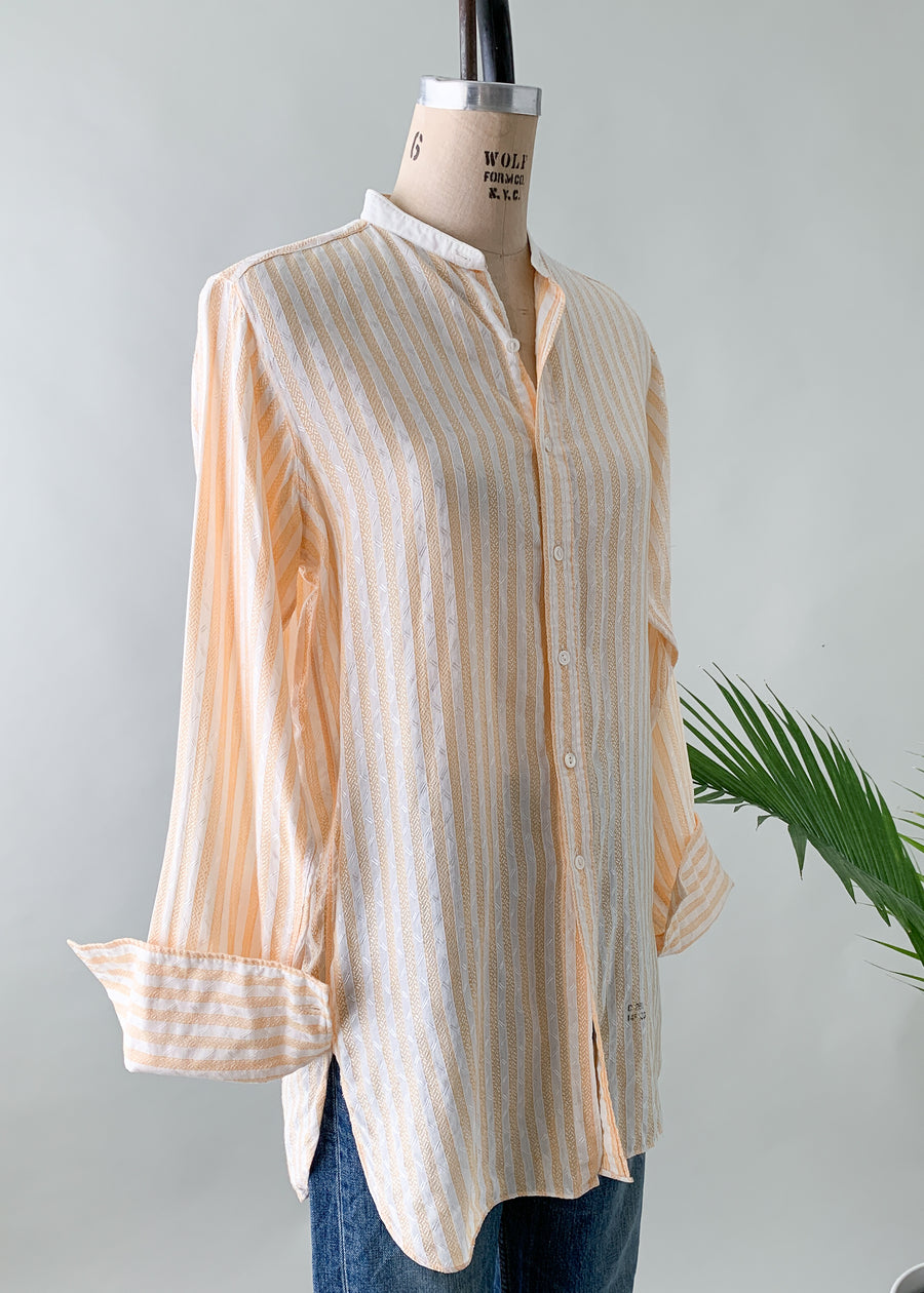 Vintage 1920s Peach Stripe Menswear Shirt