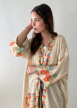 1920s Pongee Silk Asian Robe