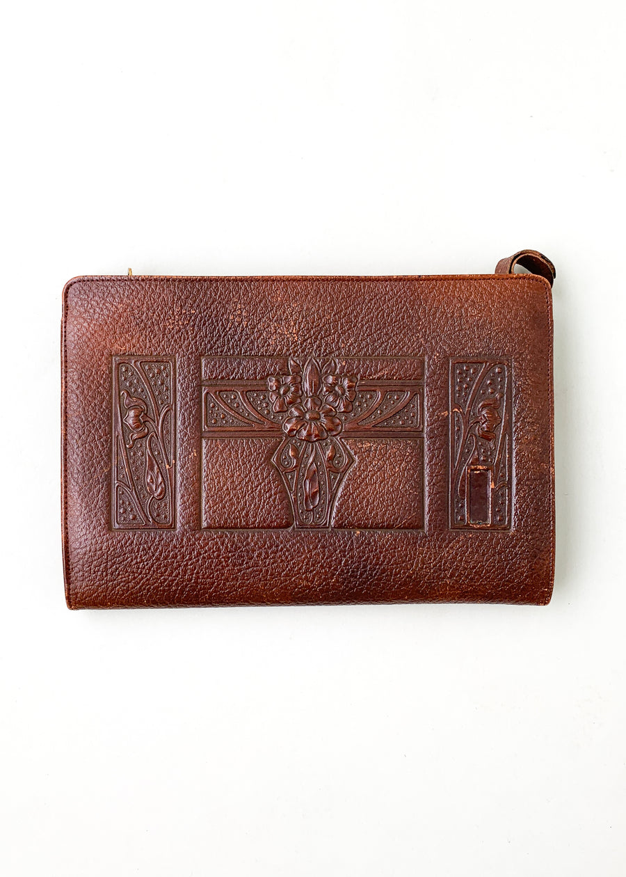 Vintage 1920s Tooled Leather Clutch