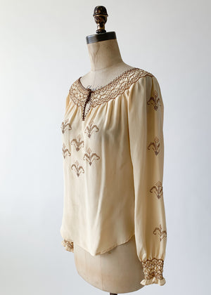 Vintage 1930s Embroidered Silk Blouse