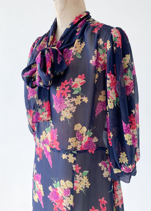 Vintage 1930s Floral Silk Chiffon Dress